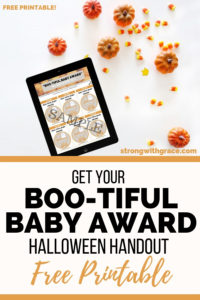 "Halloween Baby Gift ""BOO-TIFUL BABY AWARD"" Handout- Free Printable"